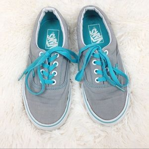 Vans Grey Turquoise Era Tongue Pop Skate Sneakers